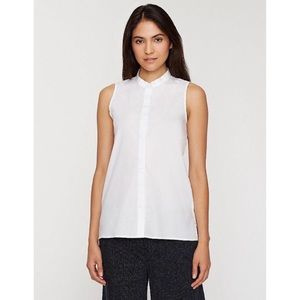 Eileen Fisher • Mandarin Collar Sleeveless Shirt